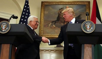 Trump shakes hands with Abbas at the White House in Washington, May 3, 2017.