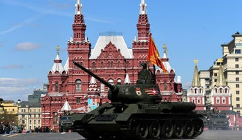 A T-34 Soviet-made tank rolls along Red Square during a rehearsal for the Victory Day military parade in Moscow on May 7, 2017.