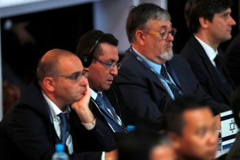 President of the Israeli Football Association (IFA), Ofer Eini listens to inagurational speech at the 67th FIFA Congress in Manama, Bahrain May 11, 2017