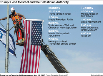 A timetable of Trump's visit to Israel and the Palestinian Authority