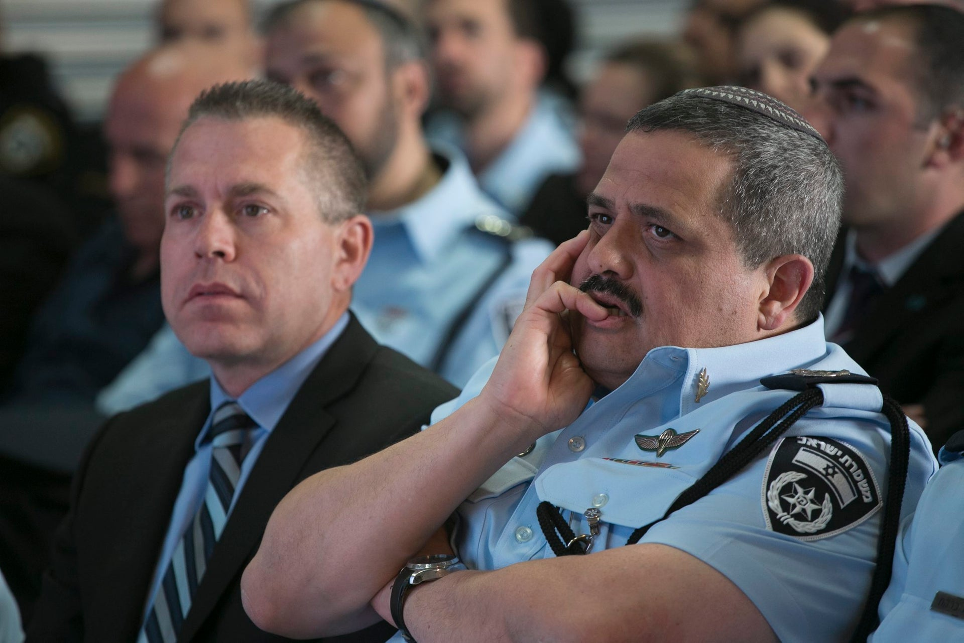 Public Security Minister Gilad Erdan and Police Commissioner Roni Alsheich, March 21, 2017.