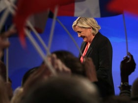 Marine Le Pen after conceding defeat in the French presidential election, Paris, May 7, 2017.