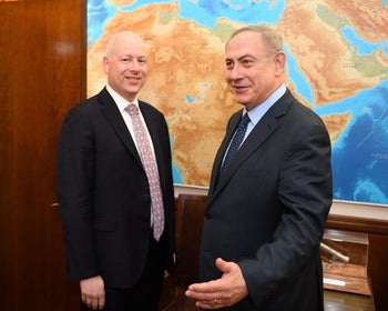Jason Greenblatt, left, meeting with Prime Minister Benjamin Netanyahu in Jerusalem in March.