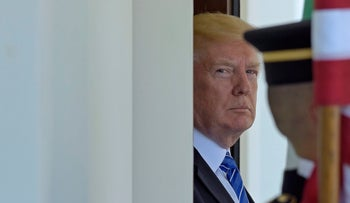 President Donald Trump awaits the arrival of Abu Dhabi's Crown Prince Sheikh Mohammed bin Zayed Al Nahyan at the White House in Washington, Monday, May 15, 2017.