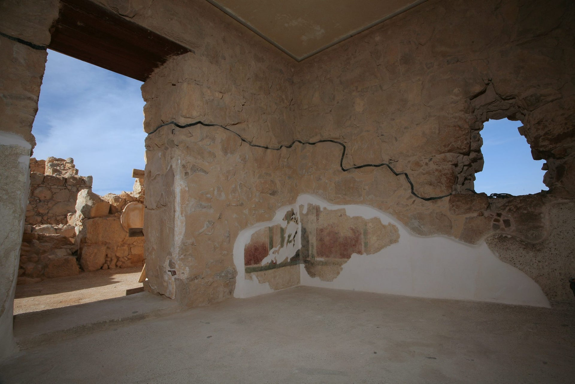 The walls of the Masada fortress once bore frescoes.