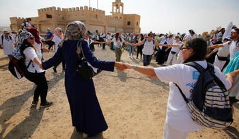 Women participating in the March of Hope dance at Qasr al-Yahud, October 19, 2016.