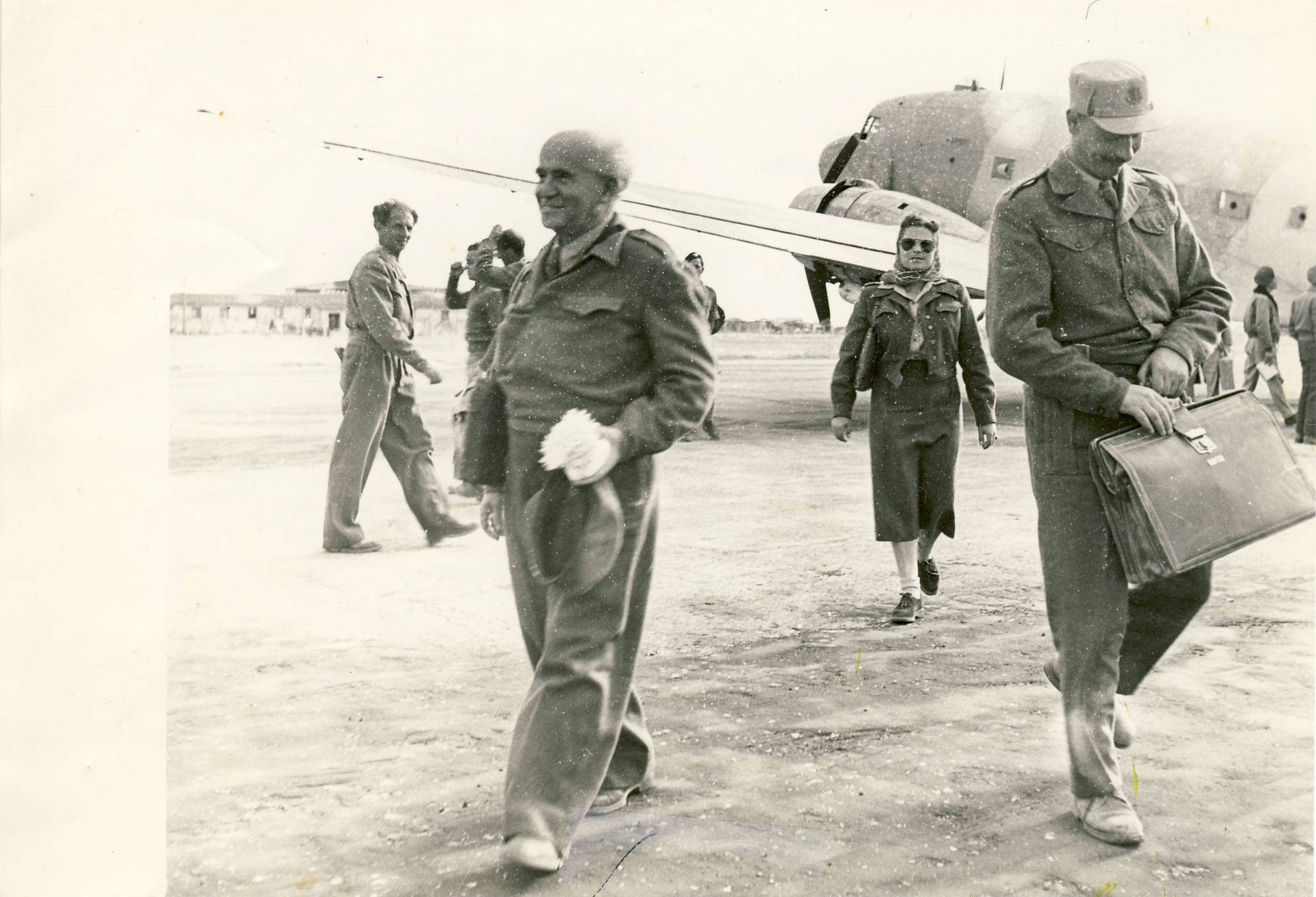 Shosh Habas (center back) with Yigael Yadin and David Ben-Gurion in Eilat.