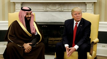 U.S. President Donald Trump meets with Saudi Deputy Crown Prince Mohammed bin Salman at the White House, March 14, 2017.