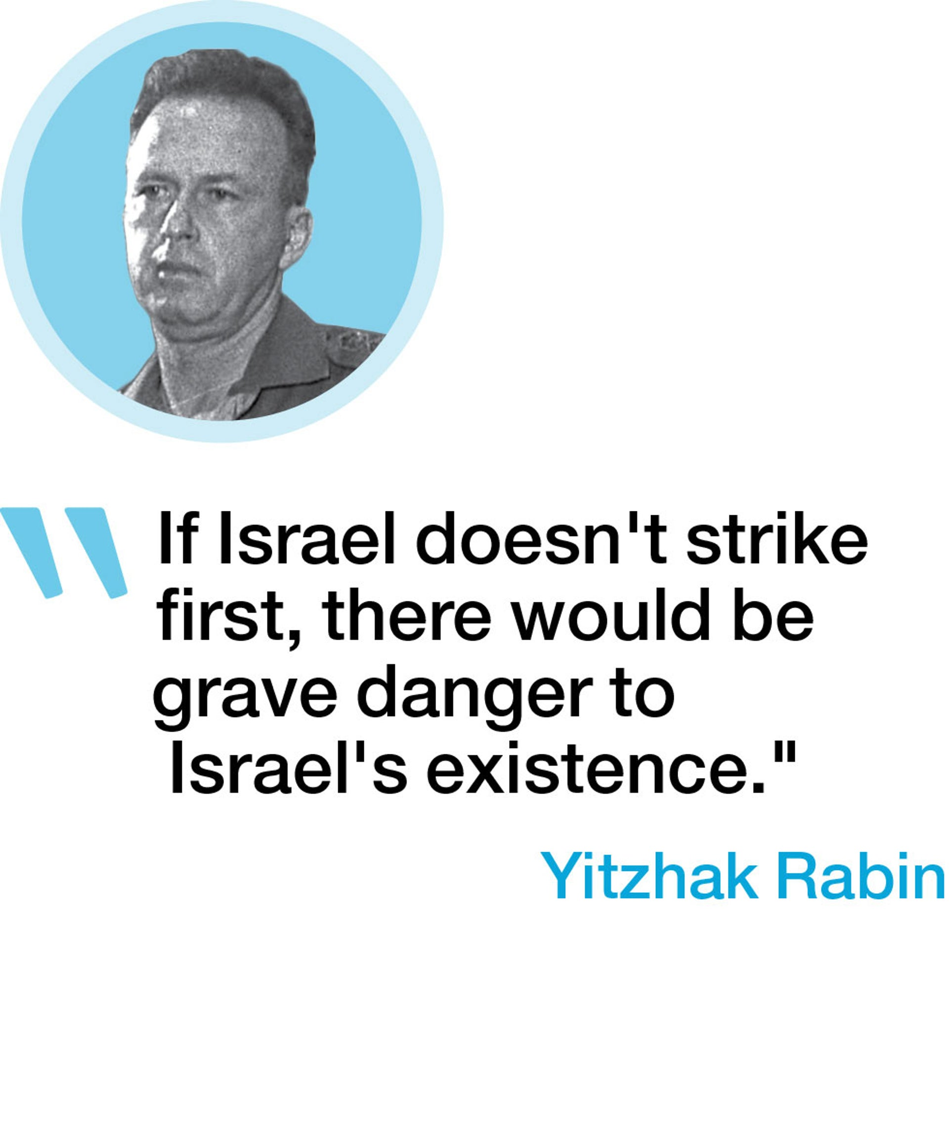 """If Israel doesn't strike first, there would be grave danger to Israel's existence."" - Yitzhak Rabin"
