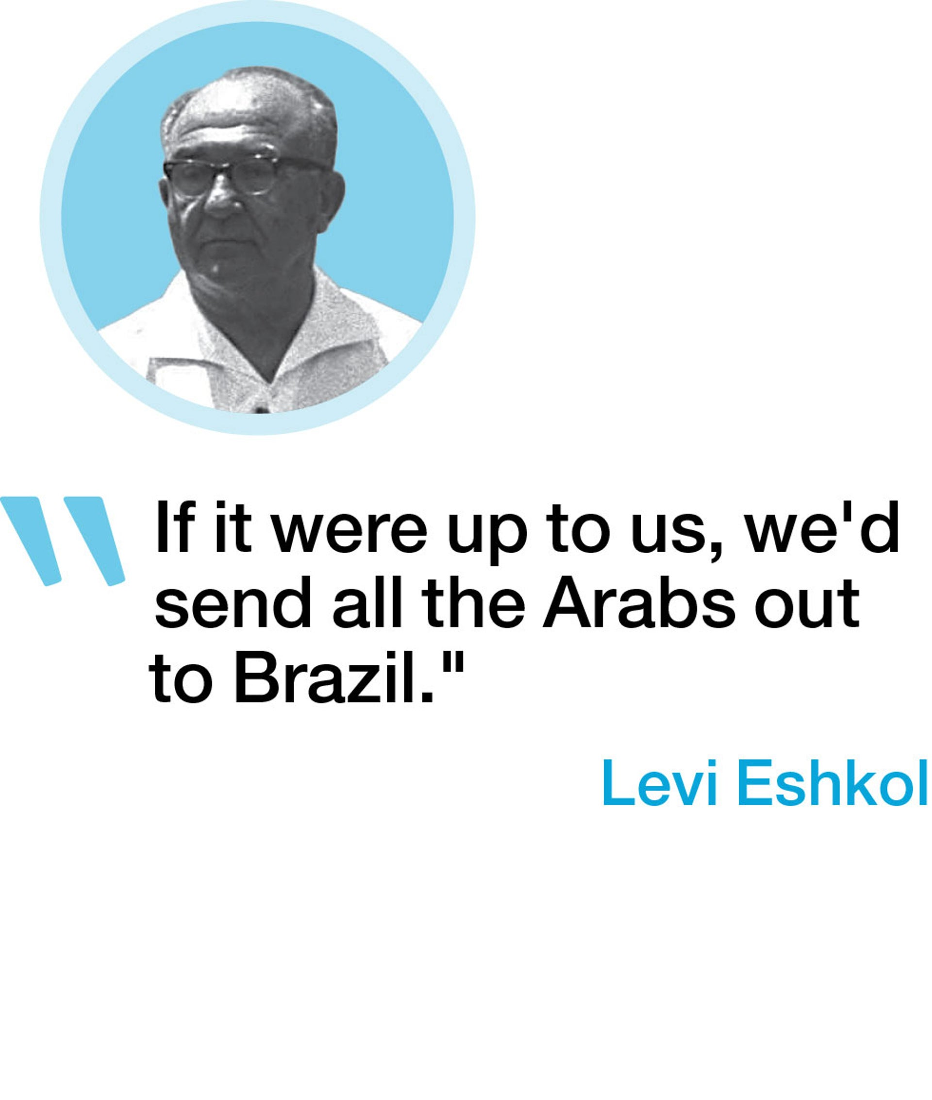 """If it were up to us, we'd send all the Arabs out to Brazil."" - Levi Eshkol"
