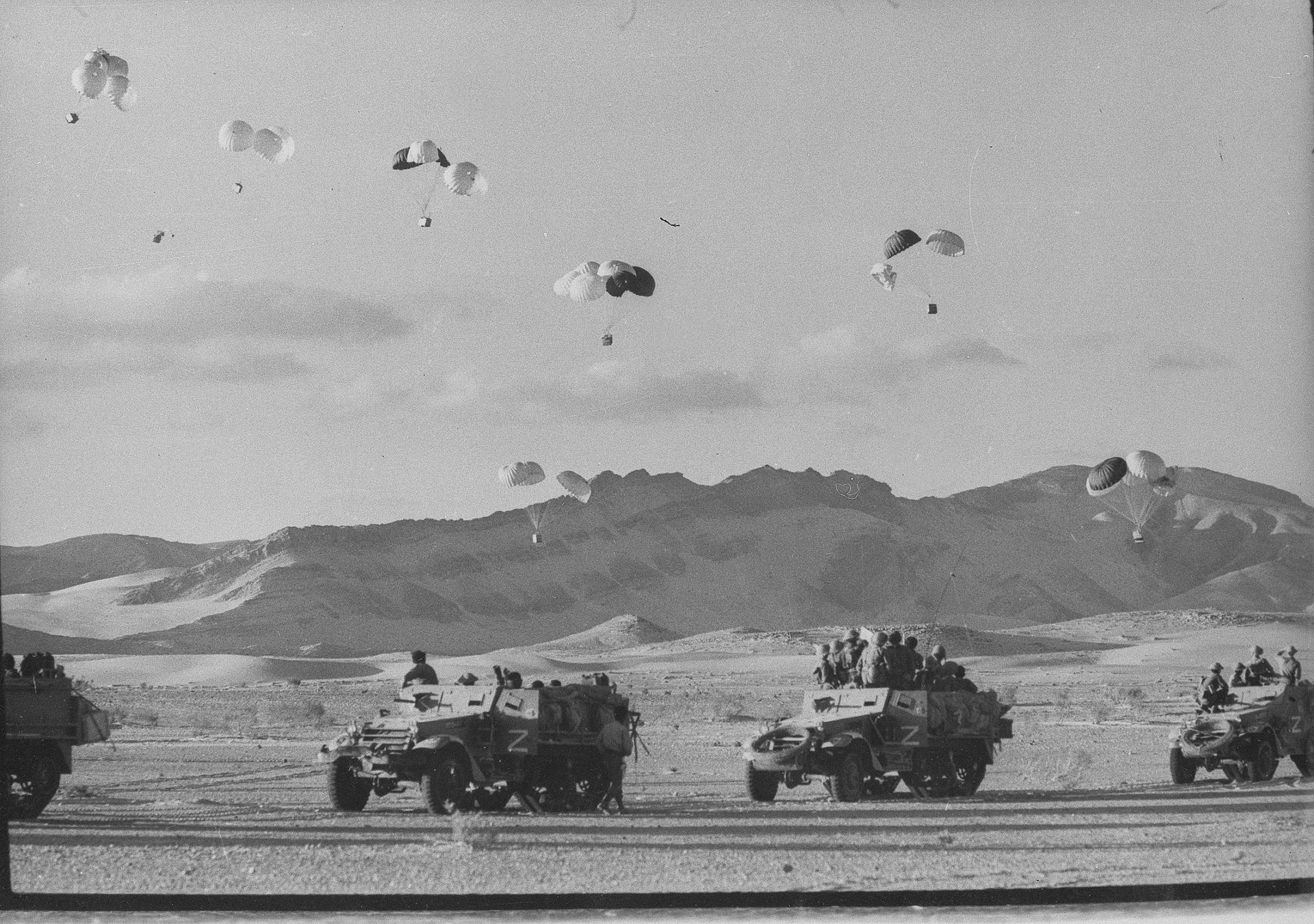 Israeli supplies are air dropped to troops in the Sinai, June 1967.