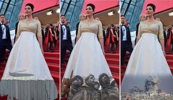 Images of Regev's dress with the West Bank separation barrier, the iconic photograph by David Rubinger, and war in Gaza.