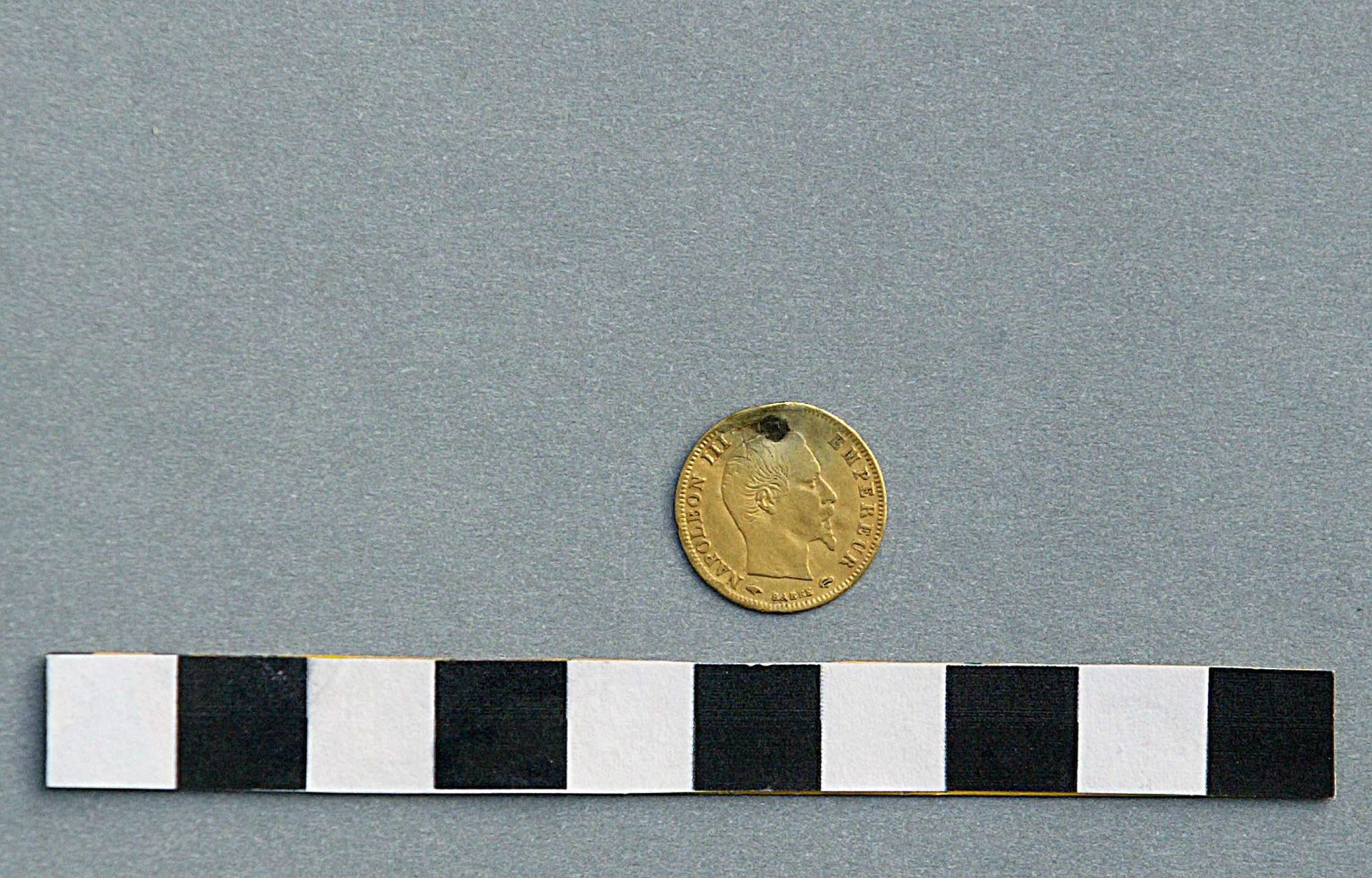 A Napoleon coin, minted in 1858, found in debris taken from Temple Mount, Jerusalem