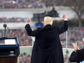 U.S. President Donald Trump celebrating after his speech during the inauguration in Washington, January 20, 2017.