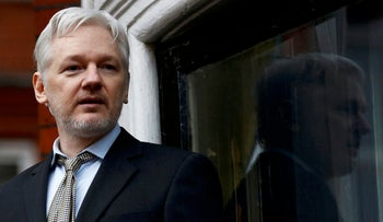 WikiLeaks founder Julian Assange makes a speech from the balcony of the Ecuadorian Embassy, in central London, Britain February 5, 2016.