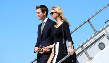 Jared Kushner and Ivanka Trump arriving on Air Force One in South Carolina, February 17, 2017.