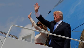 U.S. President Donald Trump and first lady Melania Trump board Air Force One for his first international trip as president, including stops in Saudi Arabia, Israel, the Vatican, Brussels and at the G7 summit in Sicily, from Joint Base Andrews, Maryland, U.S. May 19, 2017.