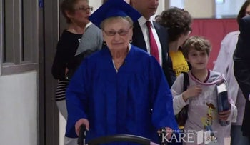 Holocaust survivor Esther Begam, 88, gets high school diploma from Wayzata High School in the Minneapolis suburb of Plymouth. May 20, 2017