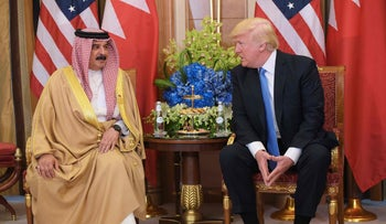 U.S. President Donald Trump (R) and Bahrain's King Hamad bin Isa Al Khalifa take part in a bilateral meeting at a hotel in Riyadh on May 21, 2017.