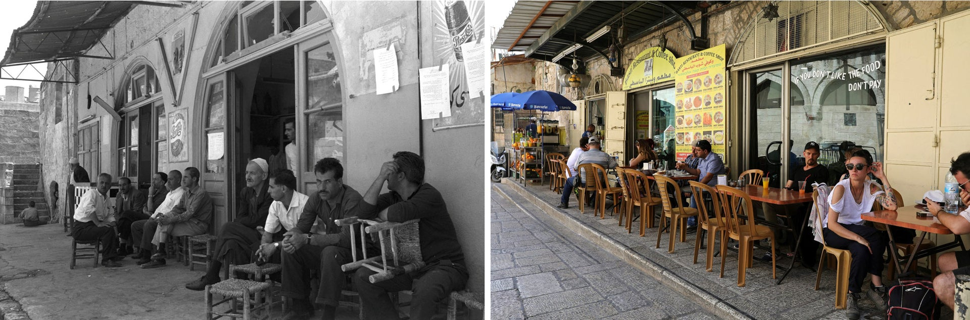 "A combination picture shows men sitting at a sidewalk cafe in Jerusalem's Old City, in this Government Press Office handout photo, taken June 19, 1967 (top) and the same location May 17, 2017. REUTERS/Moshe Pridan/Government Press Office/Handout via Reuters (top)/Ammar Awad THIS PICTURE WAS PROVIDED BY A THIRD PARTY. REUTERS IS UNABLE TO INDEPENDENTLY VERIFY THE AUTHENTICITY, CONTENT, LOCATION OR DATE OF THIS IMAGE. FOR EDITORIAL USE ONLY. NOT FOR SALE FOR MARKETING OR ADVERTISING CAMPAIGNS. SEARCH ""1967 WAR"" FOR THIS STORY. SEARCH ""WIDER IMAGE"" FOR ALL STORIES."
