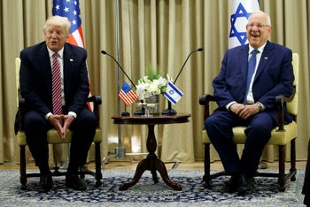 US President Donald Trump, left, meets with Israeli President Reuven Rivlin, Monday, May 22, 2017, in Jerusalem. Trump opened his first visit to Israel Monday, a two-day stop aimed at testing the waters for jumpstarting the dormant Middle East peace process. (AP Photo/Evan Vucci)