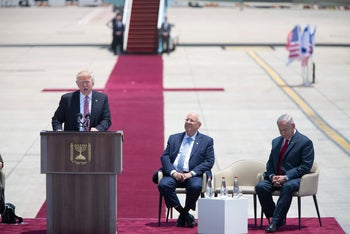 President Donald Trump speaks during a welcome ceremony in Tel Aviv, May 22,2017, accompanied by Israel's President Reuven Rivlin and Prime Minister Benjamin Netanyahu.