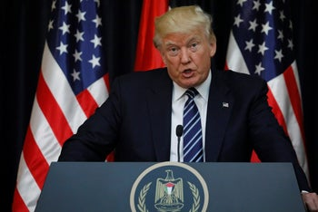 U.S. President Donald Trump speaks about the terrorist attack in Manchester, alongside Palestinian President Mahmoud Abbas in Bethlehem. May 23, 2017