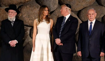 US President Donald Trump, first lady Melania Trump, Rabbi Israel Meir Lau, and Israeli Prime Minister Benjamin Netanyahu at Yad Vashem Holocaust Memorial museum, on Tuesday, May 23, 2017