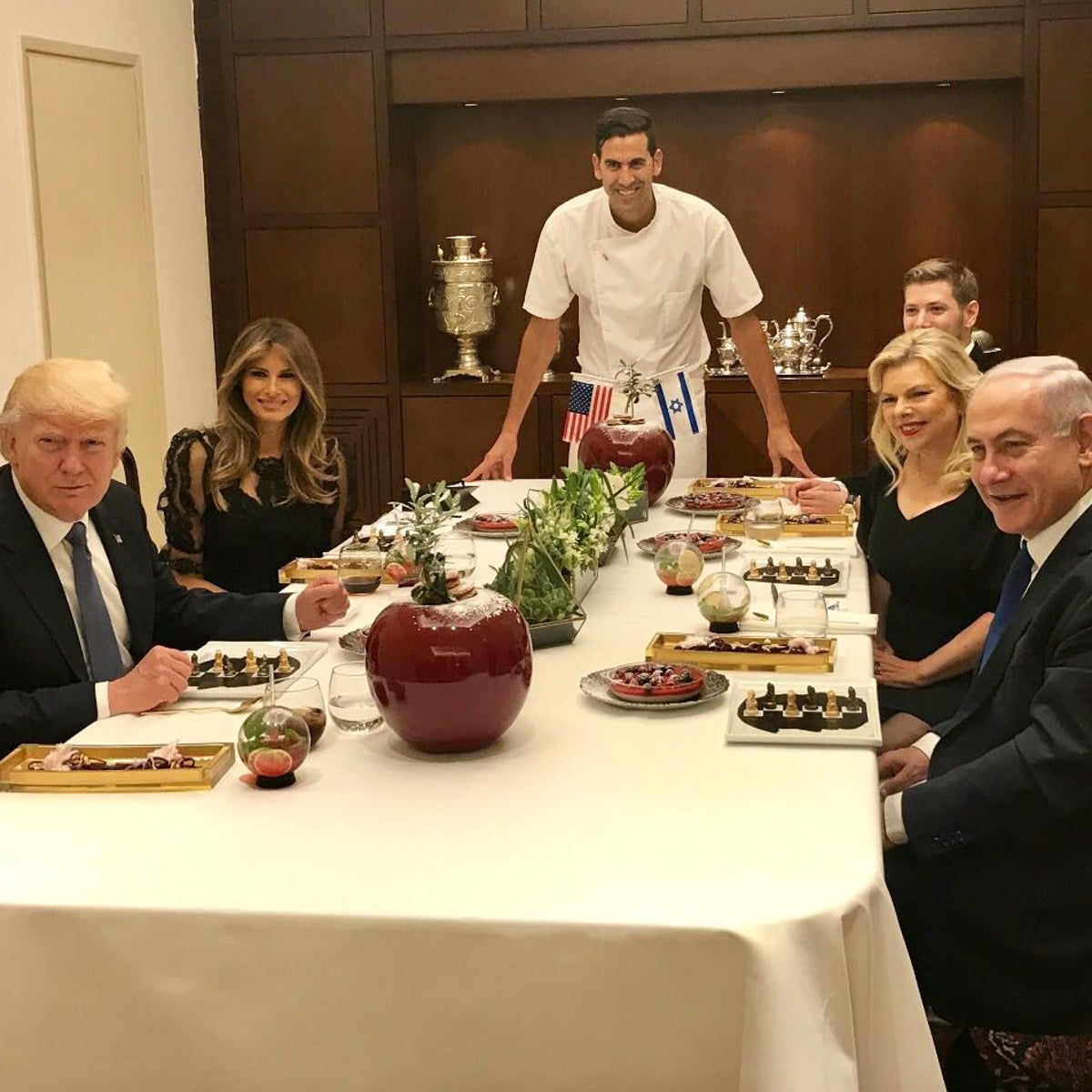 Chef Segev Moshe poses in front of the dinner he prepared for U.S. President Donald Trump, his wife, Melania,  Prime Minister Benjamin Netanyahu, his wife, Sara, and son, Yair, at the PM's residence.