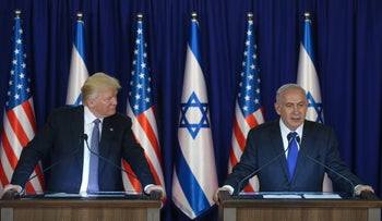 U.S. President Donald Trump and Israeli Prime Minister Benjamin Netanyahu hold a joint press conference in Jerusalem during Trump's visit to Israel, May 22, 2017.
