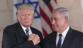 Donald Trump and Benjamin Netanyahu after the U.S. president's speech at the Israel Museum in Jerusalem, May 23, 2017.
