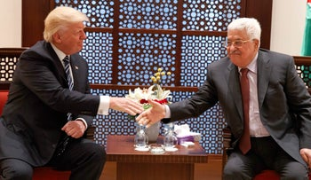 U.S. President Donald Trump, left,  meets with Palestinian President Mahmoud Abbas, Tuesday, May 23, 2017, in the West Bank City of Bethlehem.