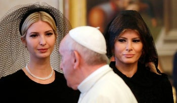 Pope Francis walks past First Lady Melania Trump and First Daughter Ivanka Trump at the end of a private audience at the Vatican, May 24, 2017.