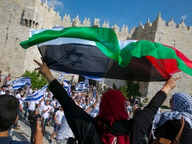 Palestinian protesting Flag March in Jerusalem, May 24, 2017.