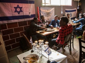 Ethiopian Jews at a restaurant in Tel Aviv.