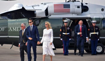 White House senior advisor Jared Kushner and Ivanka Trump make their way to board Air Force One in Tel Aviv on May 23, 2017.