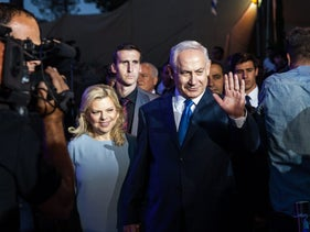 Prime Minister Benjamin Netanyahu and his wife, Sara, attending the closing Jerusalem Day ceremony at Ammunition Hill in Jerusalem, May 24, 2017.