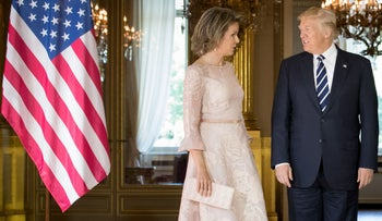 Queen Mathilde of Belgium (L) and US President Donald Trump pose prior to a reception at the Royal Palace in Brussels, on May 24, 2017.