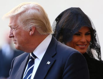 U.S. President Donald Trump and first lady Melania Trump arrive to meet Pope Francis at the Vatican, May 24, 2017.