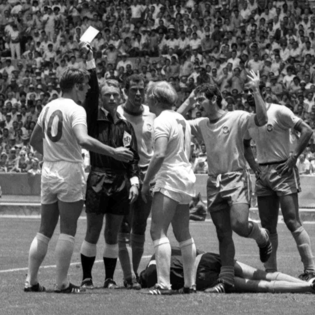 Abraham Klein showing the yellow card in the World Cup match England vs. Brazil, Guadalajara, Mexico, June 7, 1970.