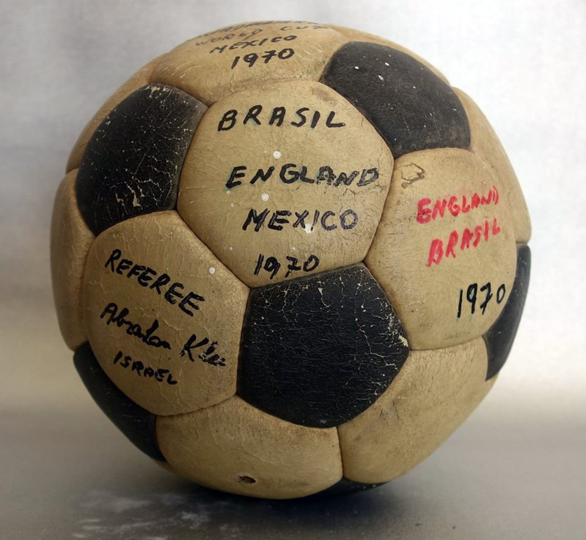A ball from the Brazil-England game at the 1970 World Cup in Mexico, Haifa, March 2016.