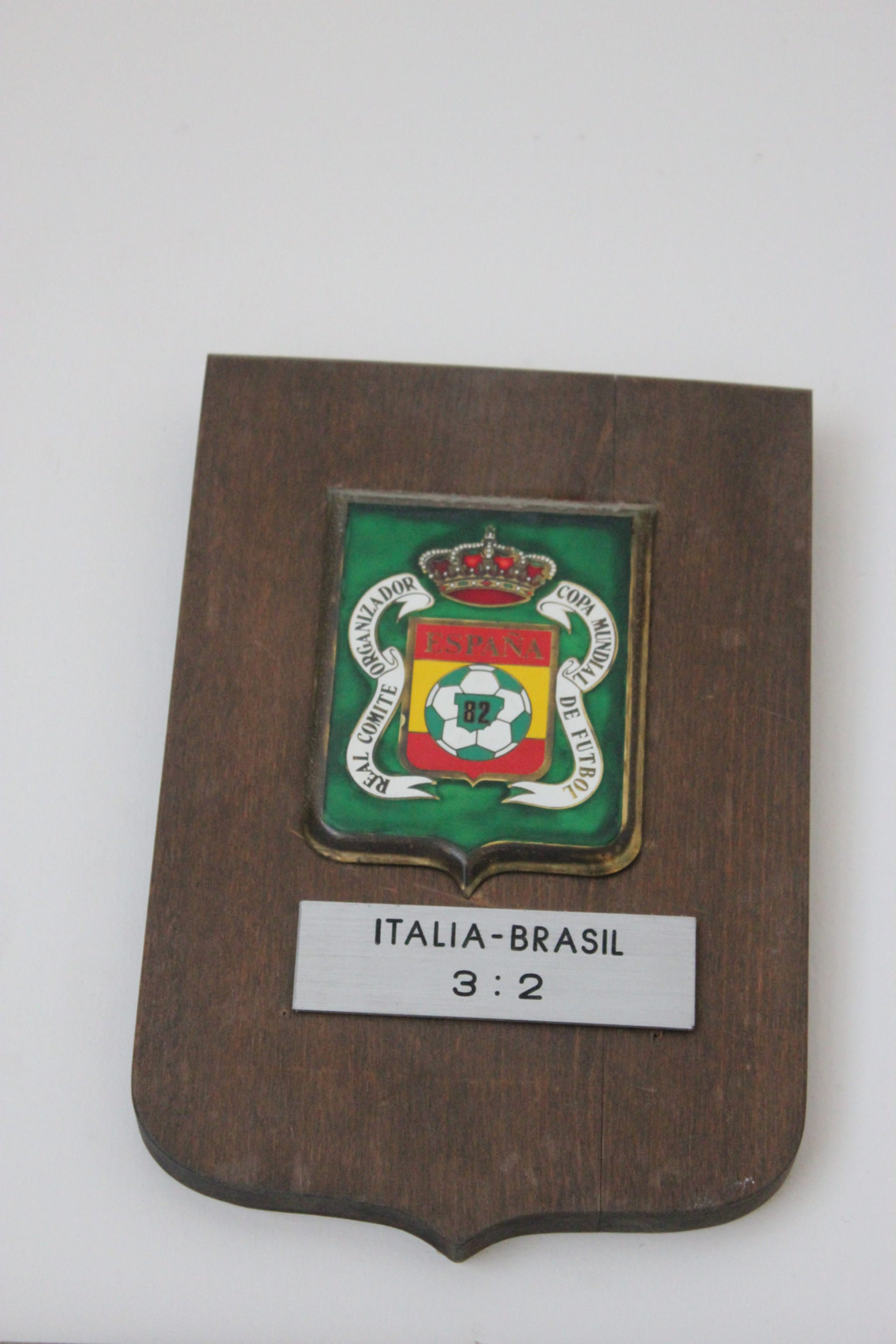 A plaque from the Brazil-Italy game in the 1982 World Cup, Haifa, March 2016.