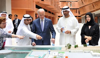 U.S. Vice President Joe Biden (C) touring the Masdar Institute in Abu Dhabi, March 7, 2016.