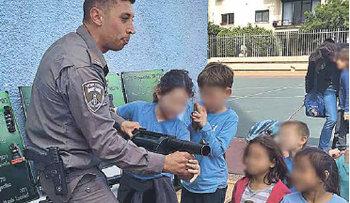 Students from Tel Nordau School in Tel Aviv learning how to disperse protesters from a member of the Border Police. March, 2016.