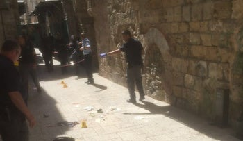 The site of an attempted stabbing attack in Jerusalem's Old City on Tuesday, March 8, 2016.