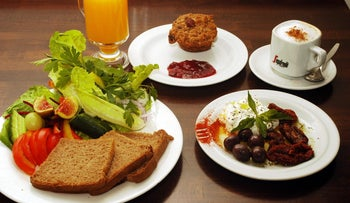Israeli breakfast at Jerusalem's Te'enim restaurant.