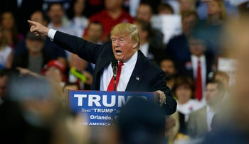 Republican presidential candidate Donald Trump speaks during a campaign rally in Orlando, Florida, March 5, 2016.