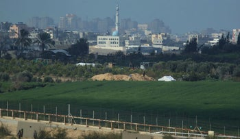 Looking into Gaza from the Kerem Shalom border crossing, February 2016.