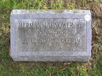 "The gravesite of Herman Tarnower, 1910-1980, in Mount Hope Cemetery. Engraved on the gravestone: ""We loved him dearly"""