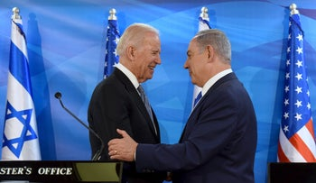 U.S. Vice President Biden shakes hands with Israeli Prime Minister Netanyahu as they deliver joint statements during their meeting in Jerusalem, March 9, 2016.